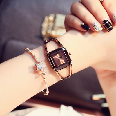 New Square Fashion Skeleton Bracelet Rose Gold Watches 2018
