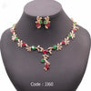Luxury Green&red Stone AAA Zircon Gold Color Jewelry Set