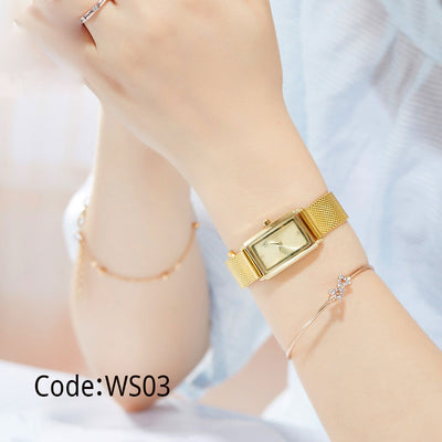 Luxury Gold Square Waterproof Stainless Steel Rhinestone Minimalism Women Watch