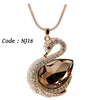 Rose Gold Color Rhinestone Crystal Vintage Swan long necklaces