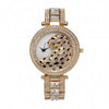 Quartz Gold Watch Crystal Diamond Leopard For Women