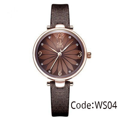 Coffee Black Leather Strap Crystal Flower Decoration Dial Quartz Casual Wristwatch