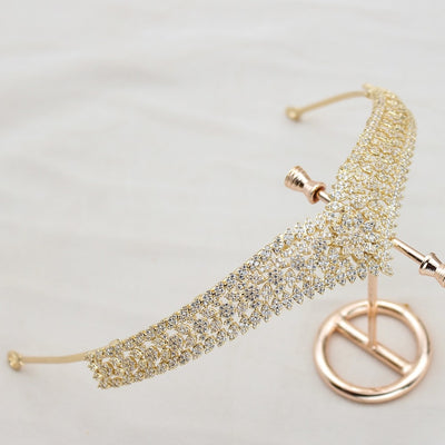Gold Petite Zircon Encrusted Tiara Delicate Hair Jewelry