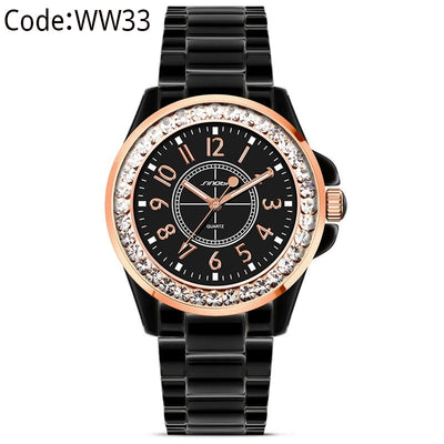 SINOBI Fashion Diamonds Wrist Watches Imitation Ceramics Top Luxury Brand