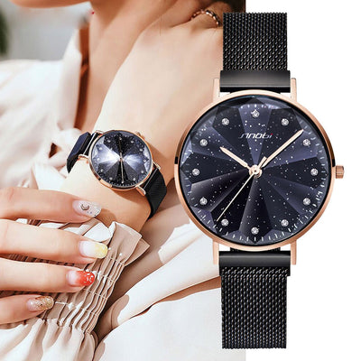 SINOBI 3D Printed Stars Sky Magnet Buckle   Women Watches 2020