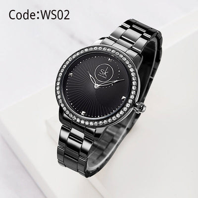 SK Elegant Diamond Dial Ladies Wrist Watch