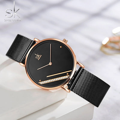 New Luxury Ladies Watch Fashion Simple Watches Womes Crystal Dial Quartz Watch Women