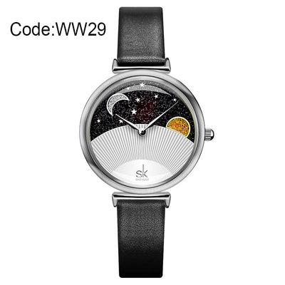 New Starry Sky Dreamy Women Watches Creative Blue Leather Strap Quartz Ladies Watch