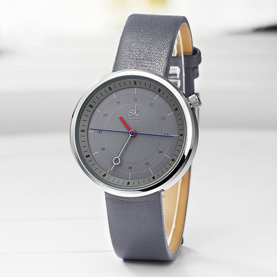 Grey Colour Leather Strap Reloj Mujer 2020 New Creative Quartz Women Wristwatch