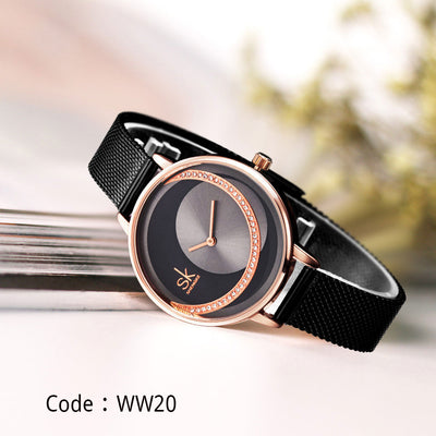 Shengke Crystal Lady Watches Luxury Brand Women Dress Watch Original Design Quartz Wrist Watches Creative Relogio Feminino