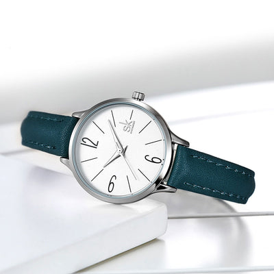 Women Casual Leather Quartz Round Wrist Watch Blue Band  Relogio Feminino Reloj Mujer