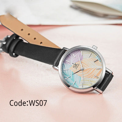 Leather Watches Reloj Mujer 2019 SK Creative Quartz Watch