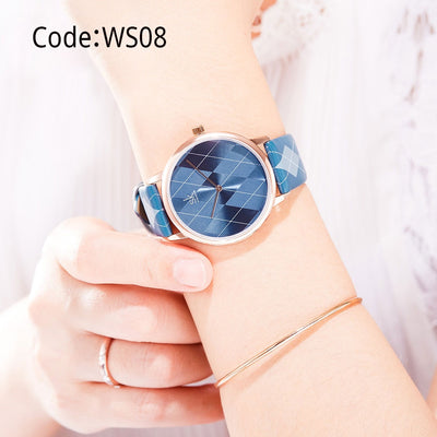 Plaid Leather Lady Clock Brand Wristwatches Montres Femme Reloj Mujer