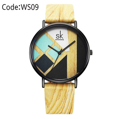 Wood Strap Leather Band  Lady Quartz Watch Relogio Feminino
