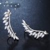 Fashion Feather Crystal Stud Earrings for Women