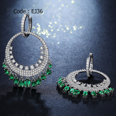 Big Round Ethnic Dangling Drop Earrings for Women