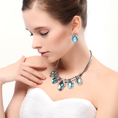 Ocean Blue Crystal Earrings Necklace Jewelry Set