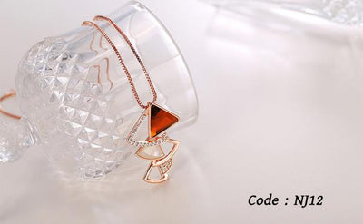 Rose Gold Crystal Rhinestone Pendant Necklace