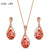 Rose Gold Orange Crystal Jewelry Sets for Women