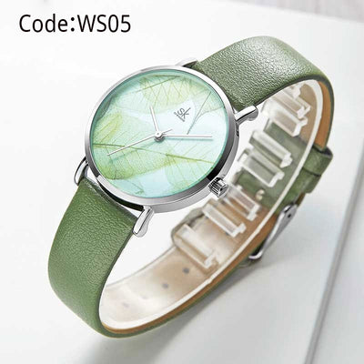 Women Watches Creative Leaves Dial Bright Leather Strap Quartz Clock Shengke