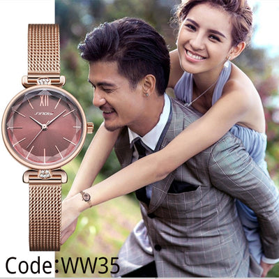 Golden Steel Elegant Small Dial Diamond Ladies Wrist Watch