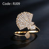 Micro Pave Shell Open Rings for Cute Girl