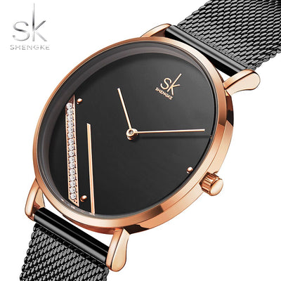 Shengke 2019 New Luxury Women Watches Fashion Simple  Crystal Dial Ladies Quartz Watches Female Clock Montre Femme Reloj de dama