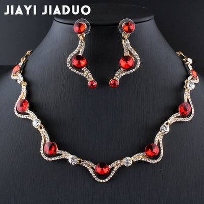 Austria Red Gold-color African beads Jewelry set