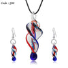 Lampwork Glass Necklace and Earrings Jewelry Sets For Women