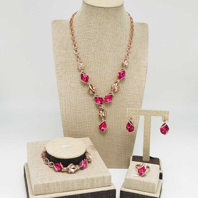 Rose Gold Color Necklace Set For Women