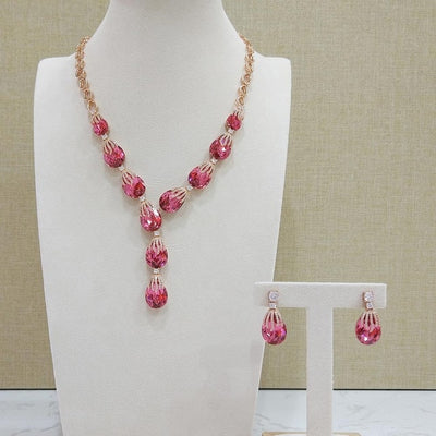 Red Color Rhinestone Drop Earrings Necklace Set for Women