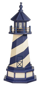 Our Poly lighthouses are maintence free and will not splinter, crack or fade and never need painting. Lighthouses come standard with a 25 watt bulb