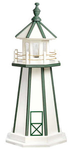 Our Wooden lighthouses are handcrafted from a top quality signboard plywood and painted with an exterior grade paint. Our products are built to endure all types of weather conditions. Lighthouses come standard with a 25 watt bulb