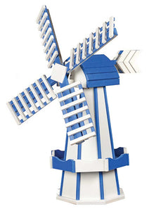Our Poly windmills are made from a recycable material that will not splinter, crack, or fade. You can choose from a variety of color combinations to accomodate your home. Our poly windmills are built to last a lifetime