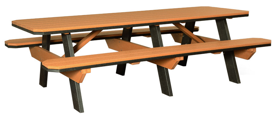 Table with Benches Attached 3' x 8'