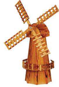 Our Wooden windmills are constructed of durable exterior plywood with three coats of polyurethane to protect your windmill. Our windmills are built to last and designed to beautifully enhance any landscape