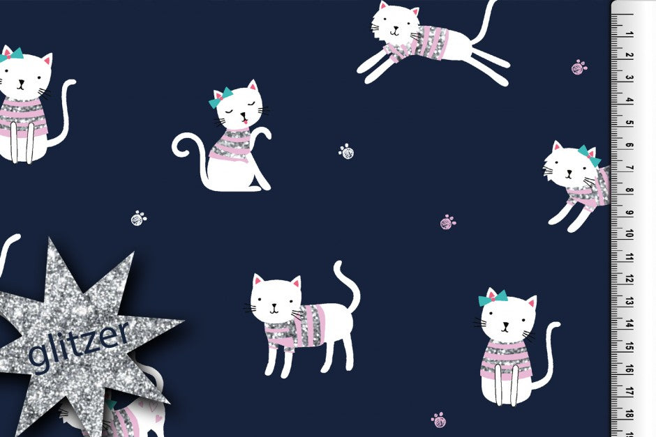 Cute Cats jersey fabric with glitter high quality certified