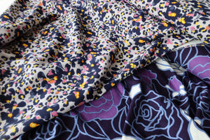 Fields of Viola Blue Morocain Stretch Dress Fabric