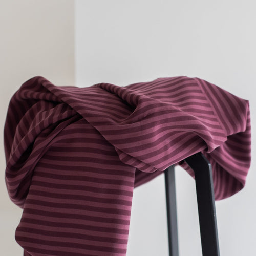 Meet MILK - Two Tone Stripe Twill Maroon with TENCEL™ Lyocell fibers
