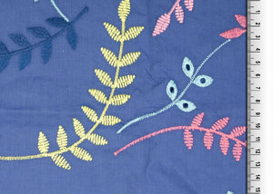 REMNANT 1.68 meters Fantasy Leaves Blue Cotton Broderie Anglaise