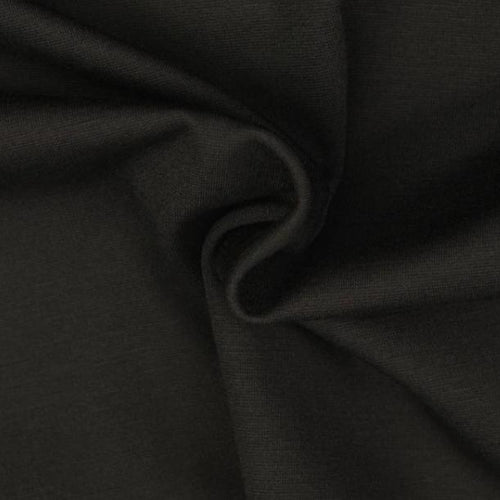 Black Viscose Ponte Roma Double Knit Fabric