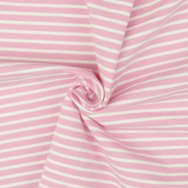 Pink with White Stripe Cotton Jersey