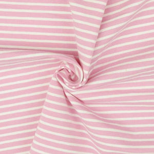 Pink with White Small Stripe Cotton Jersey
