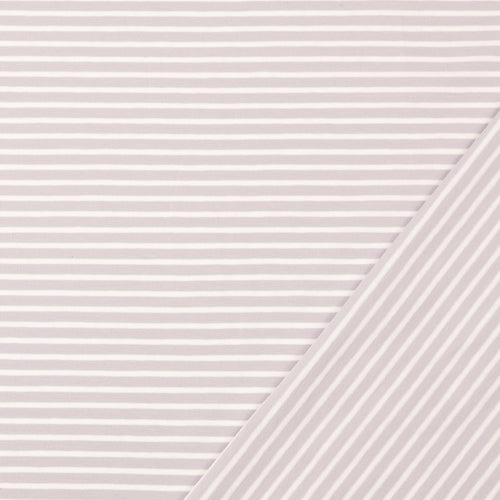 REMNANT 1.75 meters Light Sepia with White Small Stripes Cotton Jersey
