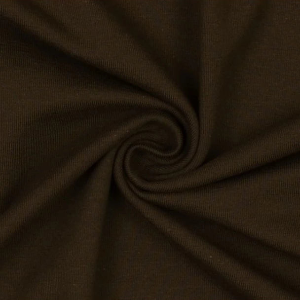 Essential Dark Chocolate Plain Cotton Spandex Jersey Fabric