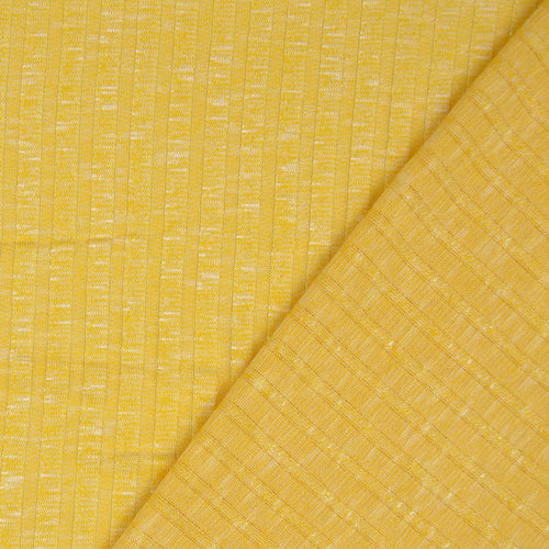 REMNANT 1.65 meters Melange Yellow Wide Rib Knit Fabric