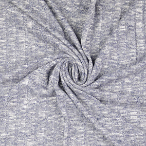 Melange Denim Blue Wide Rib Knit Fabric