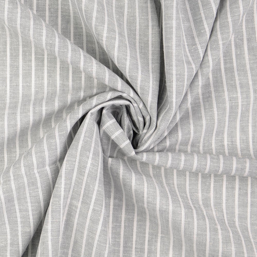 REMNANT 1.98 meters Grey Linen Cotton Blend Stripes