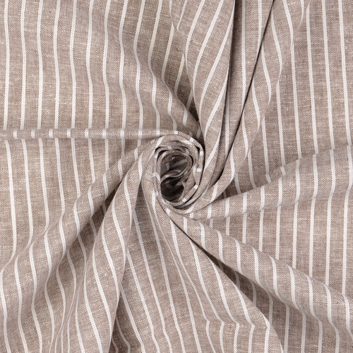 REMNANT 1.55 meters Sepia Linen Cotton Blend Stripes