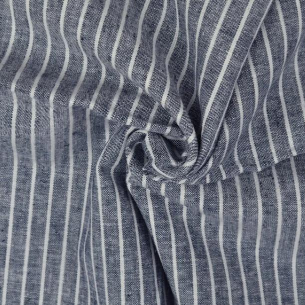 Navy Linen Cotton Blend Stripes